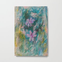 Embossed Impressionist Pink flowers with green background Metal Print