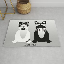 French Bulldog Date Night in Black and White  Rug