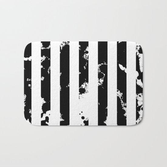 Splatter Bars - Black ink, black paint splats in a stripey stripy pattern Bath Mat
