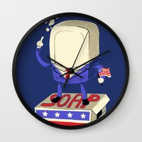 politics Wall Clocks featuring Politics are Dirty by Jonah Makes Artstuff