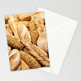 Bread baking rolls and croissants Stationery Cards