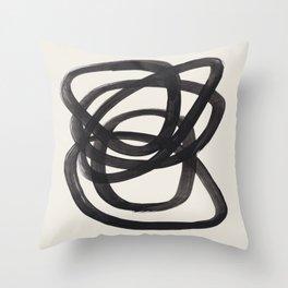 Mid Century Modern Minimalist Abstract Art Brush Strokes Black & White Ink Art Spiral Circles Throw Pillow