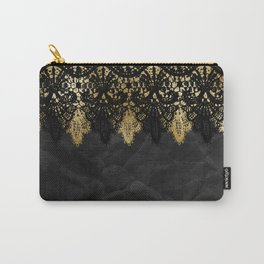 Simply elegance - Gold and black ornamental lace on black paper Carry-All Pouch