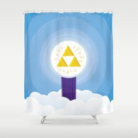 hyrule Shower Curtains featuring The Creation of Hyrule by Alexander Danling