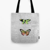 newspaper Tote Bags featuring Newspaper and Butterflies by Juliana Zimmermann
