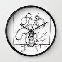 sneaker Wall Clocks featuring Sneaker Snake by Leslie Buccino