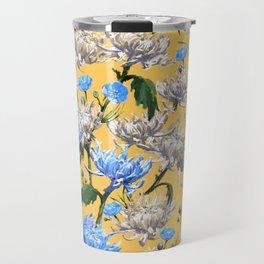 Mums Pattern  |  Yellow-Blue-Cream-White Travel Mug