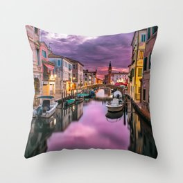 Venice Italy Canal at Sunset Photograph Throw Pillow