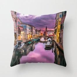 Venice Italy Canal at Sunset Photograph Throw Pillow