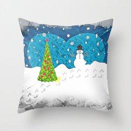 Snowman Heart Throw Pillow