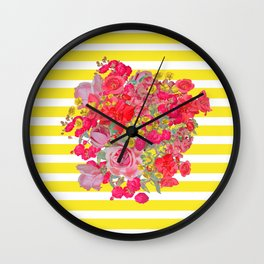 Antique Vintage Floral Burst with Yellow Stripe Wall Clock
