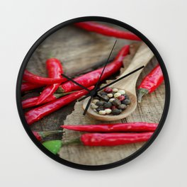 Spicy chili and mixed pepper kitchen image Wall Clock