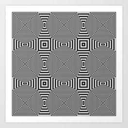 Flickering geometric optical illusion Art Print