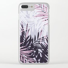Pink gray tropical background Clear iPhone Case