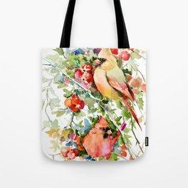 Cardinal Birds and Hawthorn Tote Bag