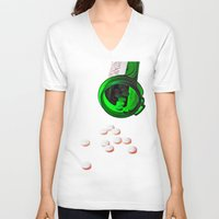 pills V-neck T-shirts featuring pills by Dusty Snowman
