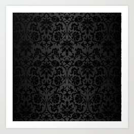 Black Damask Pattern Design Art Print