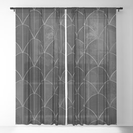 Mermaid scales in black and white. Sheer Curtain