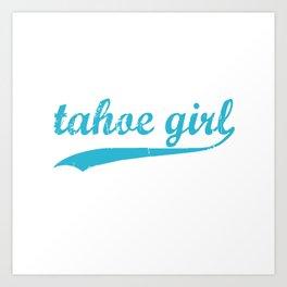 Tahoe Girl Co-ed Turquoise Art Print