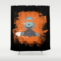 mass effect Shower Curtains featuring EDI (Mass Effect) by MajesticSeahawk Designs