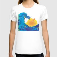 hokusai T-shirts featuring Hokusai Rainbow & Hibiscus_Y  by FACTORIE