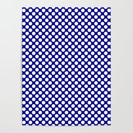 Large White Polkadots on Australian Flag Blue Poster