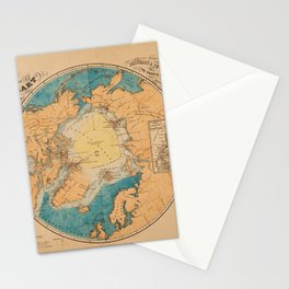 Map Of The Arctic 1860 Stationery Cards
