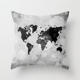 World map - desaturated Throw Pillow