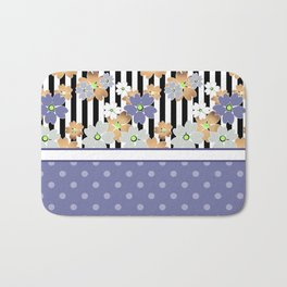 Floral pattern With textured polka dots. Bath Mat