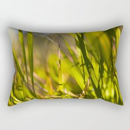 Grass close up shot with sunshine Rectangular Pillow