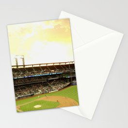 Baseball Game at Citi Field During Sunset Stationery Cards