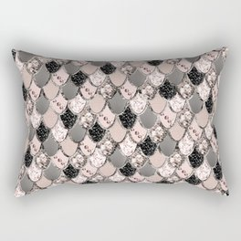 Rose Gold Blush Mermaid Princess Glitter Scales #1 #shiny #decor #art #society6 Rectangular Pillow