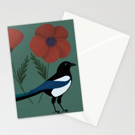 Magpie and Poppies Stationery Cards