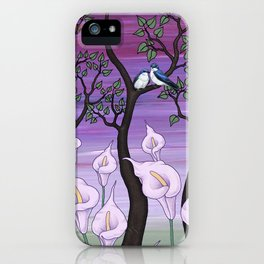 calla lilies & tree swallows iPhone Case