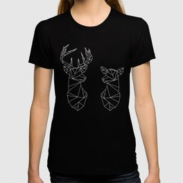 Geometric Stag and Doe (White on Black) T-shirt