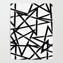 Interlocking Black Star Polygon Shape Design Poster