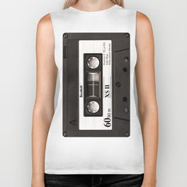 Cassette Tape Black And White #decor #homedecor #society6 Biker Tank