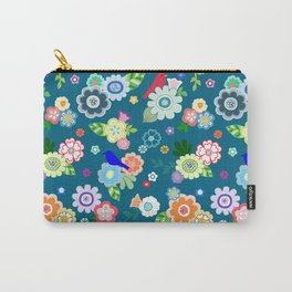 Whimsical Spring Flowers in Dark Blue Carry-All Pouch
