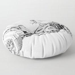 Motorcycle art, black and white portrait Floor Pillow