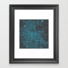 Denver blue map Framed Art Print
