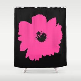 Pink Peony (Black) Shower Curtain