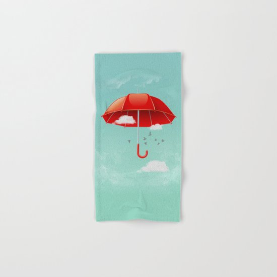 Teal Sky Red Umbrella Hand & Bath Towel