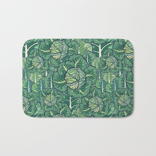 dreaming cabbages Bath Mat