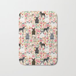 Frenchie floral french bulldog cute pet gifts dog breed must haves florals french bulldogs Bath Mat