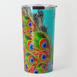 BLUE PEACOCK TURQUOISE ART ABSTRACT Travel Mug
