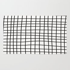 Handdrawn Grid Rug