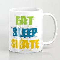 skate Mugs featuring skate by the lazy pigeon
