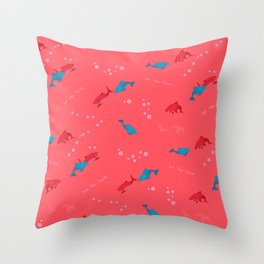 Pink Shark and Dolphin Throw Pillow