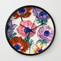 poppies Wall Clocks featuring poppies by Ania