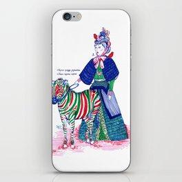 Lady and her zebra iPhone Skin